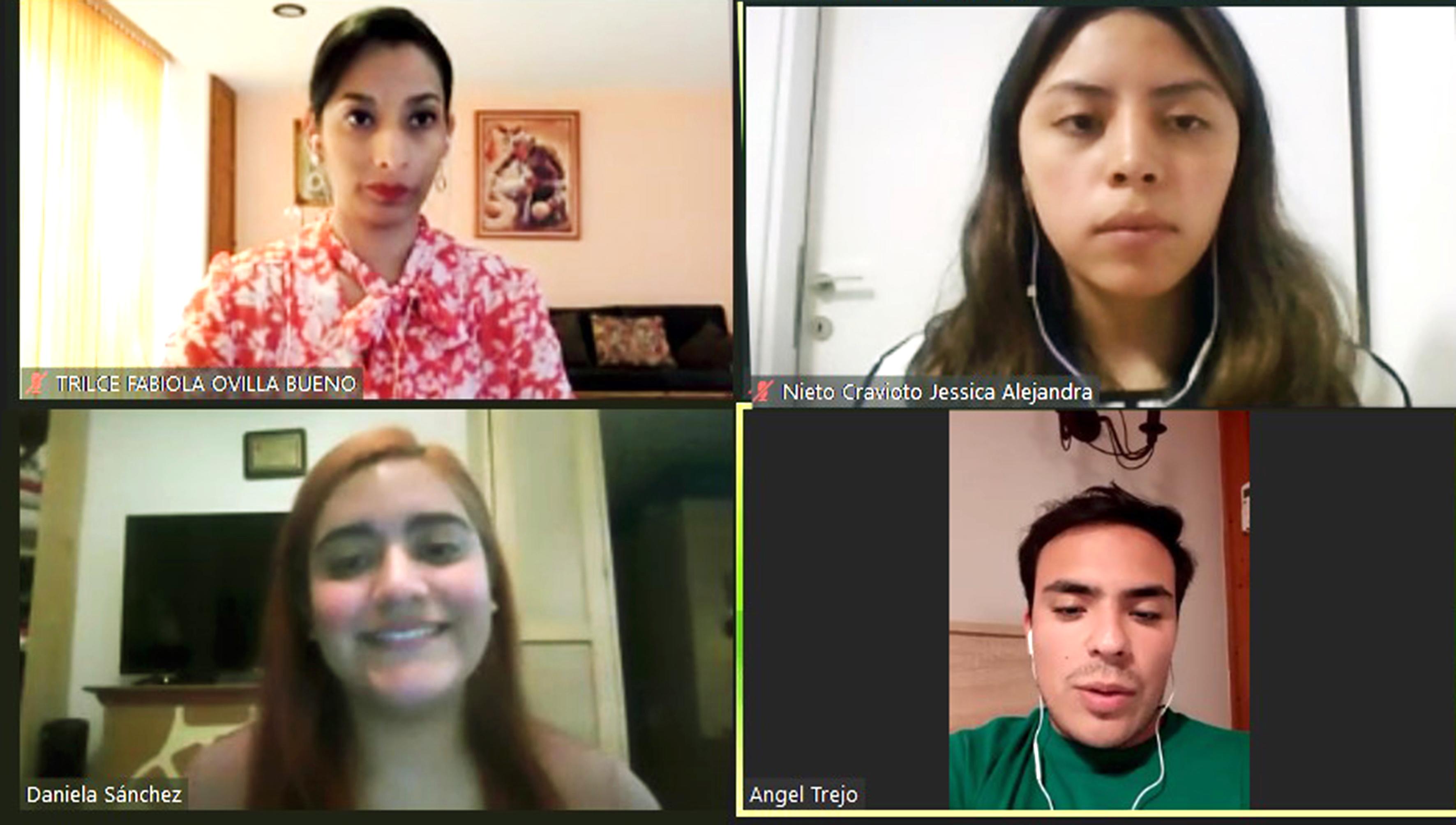 Trilce Fabiola Ovilla Bueno, Jessica Alejandra Nieto, Daniela Sánchez Monroy Ángel Trejo Munguía, los representantes de la Facultad de Derecho UNAM, en el concurso de derecho internacional universitario, en Durrës, Albania.